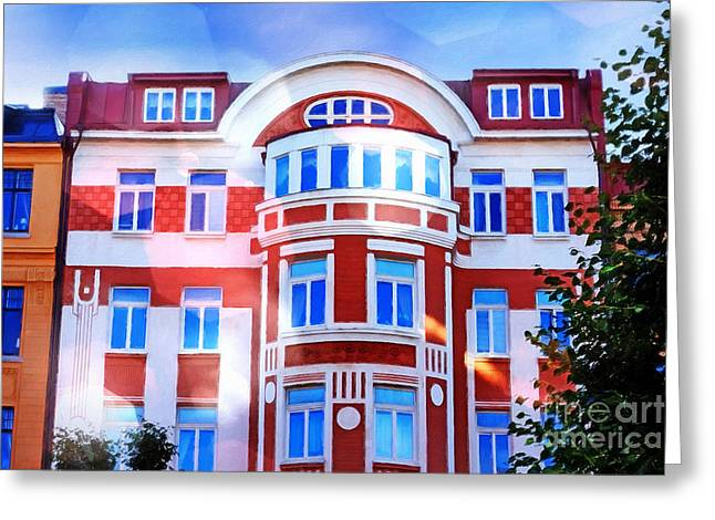 Photoart Greeting Cards - Shining House painterly Greeting Card by Lutz Baar