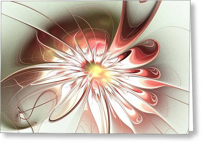 On Fire Mixed Media Greeting Cards - Shining Pink Flower Greeting Card by Anastasiya Malakhova