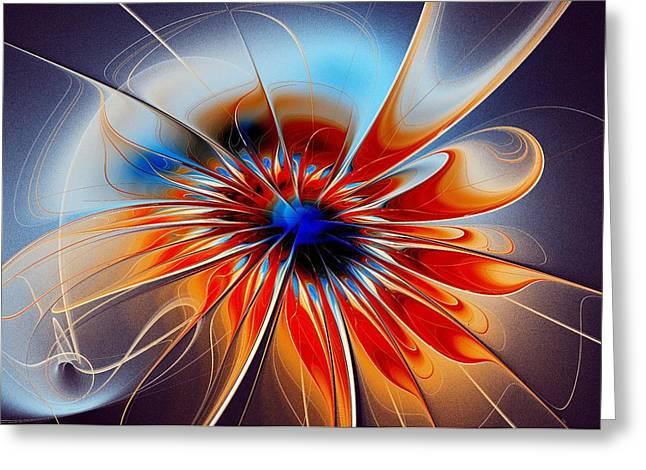 Recently Sold -  - Abstract Digital Mixed Media Greeting Cards - Shining Red Flower Greeting Card by Anastasiya Malakhova