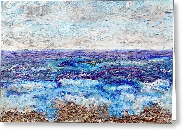 Beaches Reliefs Greeting Cards - Shining Sea Greeting Card by Regina Valluzzi