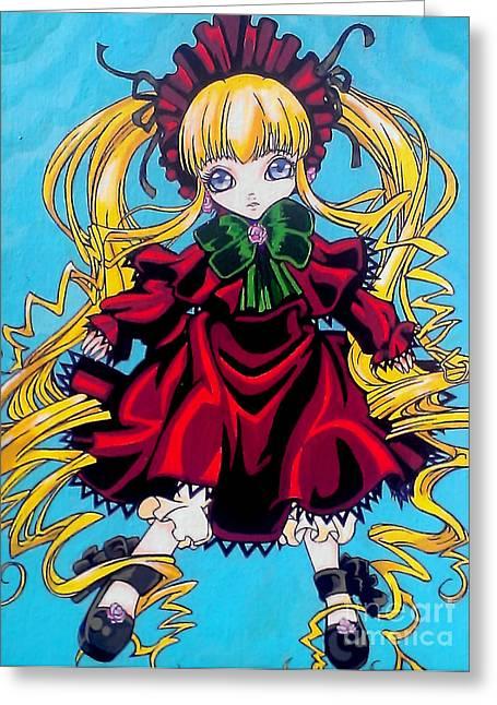 Porcelein Greeting Cards - Shinku the Living Doll Greeting Card by Jin Kai