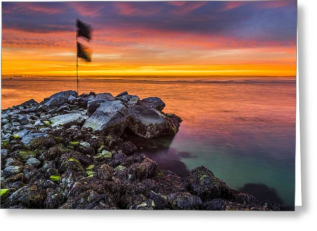 Rocks. Tidal Pool Greeting Cards - Shinnecock Bay Tidal Pool Sunset Greeting Card by Ryan Moore