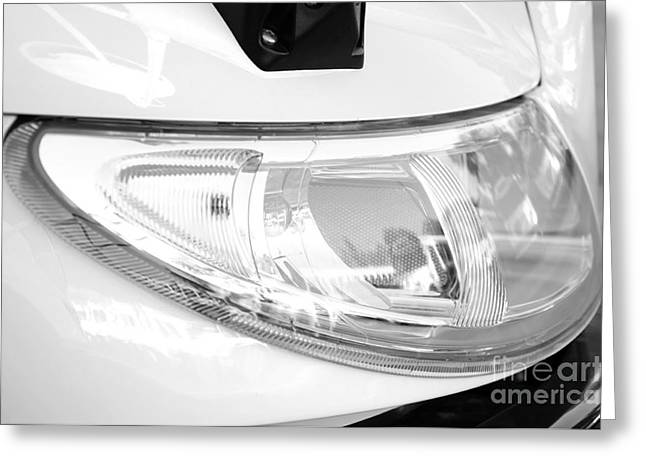 Bus Signs Greeting Cards - Shiny New Head Light BW Greeting Card by Andee Design