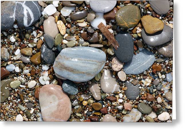 Agate Beach Greeting Cards - Shiny Pebbles Greeting Card by Lynn Bolt
