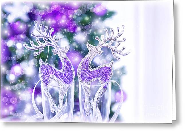 Rudolph Greeting Cards - Shiny reindeer decor Greeting Card by Anna Omelchenko