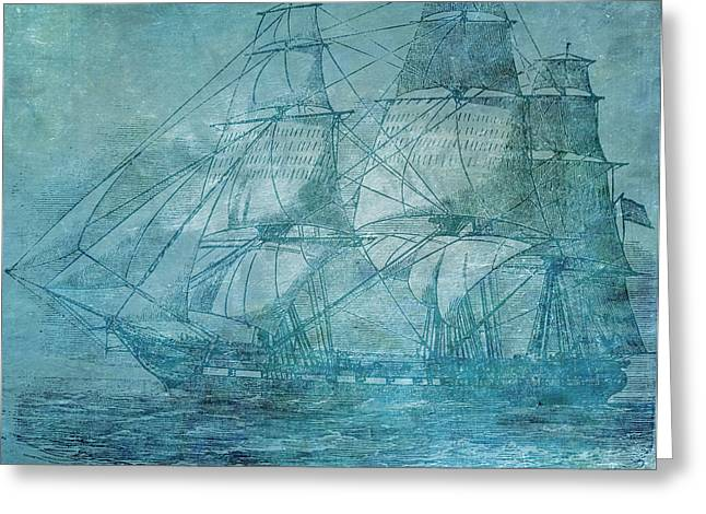 Water Vessels Mixed Media Greeting Cards - Ship 1 Greeting Card by Angelina Vick