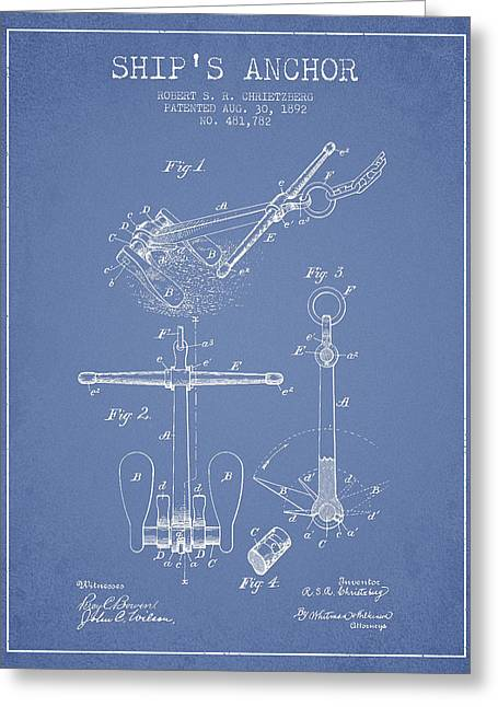 Anchored Greeting Cards - Ship Anchor patent from 1892 - Light Blue Greeting Card by Aged Pixel