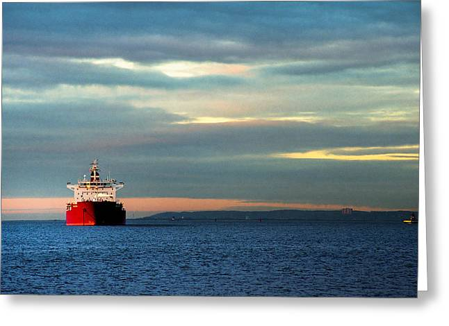 Mysterious Greeting Card featuring the photograph Ship - Anchored On The Edge Of Light by Gary Heller