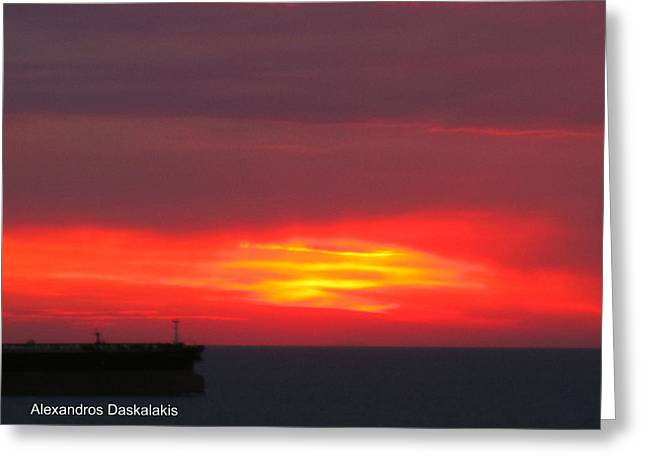 Amazing Sunset Greeting Cards - Ship and Sunset Greeting Card by Alexandros Daskalakis