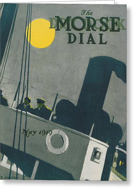 Magazine Cover Greeting Cards - Ship at night Greeting Card by Edward Hopper