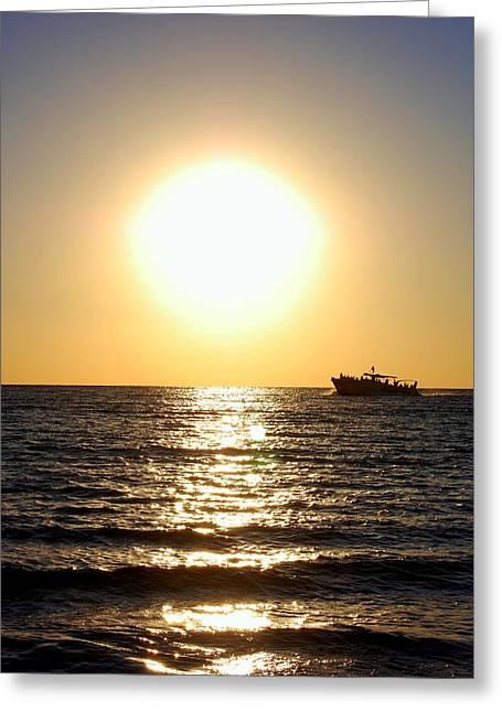 Panama City Beach Greeting Cards - Ship at Sea 1 of 2 Greeting Card by May Photography