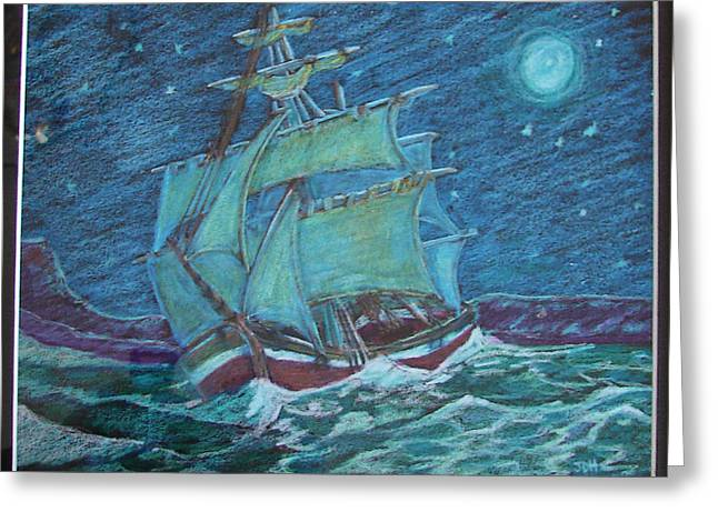 Pirate Ships Drawings Greeting Cards - Ship At Sea Greeting Card by Joseph Hawkins