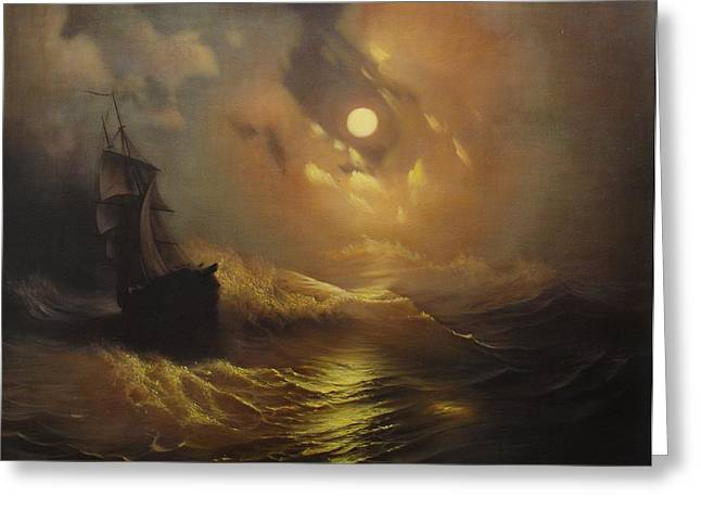 Storm Prints Paintings Greeting Cards - Ship At Sea Greeting Card by Rembrandt