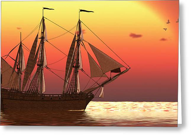 Schooner Greeting Cards - Ship at Sunset Greeting Card by Corey Ford