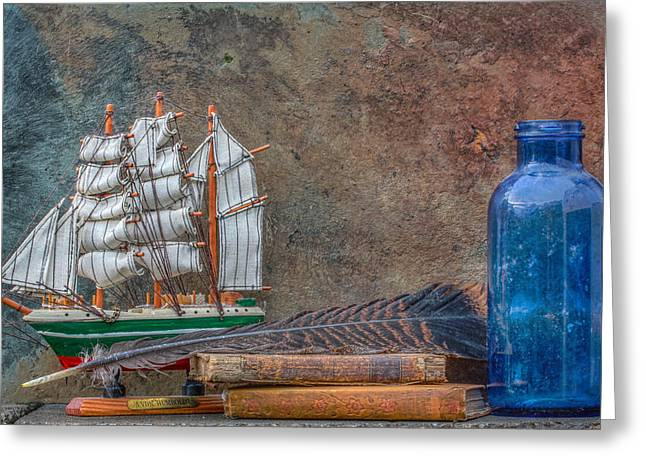 Tone Mapped Greeting Cards - Ship Bottle Books Still Life Greeting Card by Randy Steele