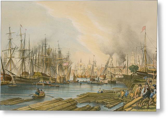 Boats At The Dock Greeting Cards - Ship Building at Limehouse Greeting Card by William Parrot