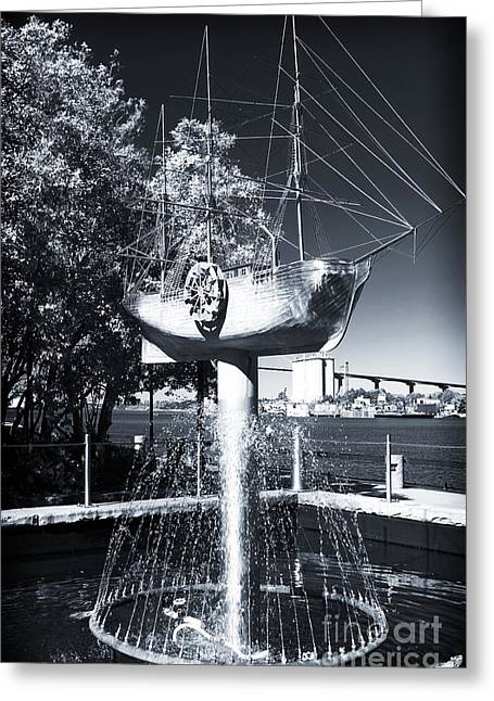 Chatham County Greeting Cards - Ship Fountain Greeting Card by John Rizzuto
