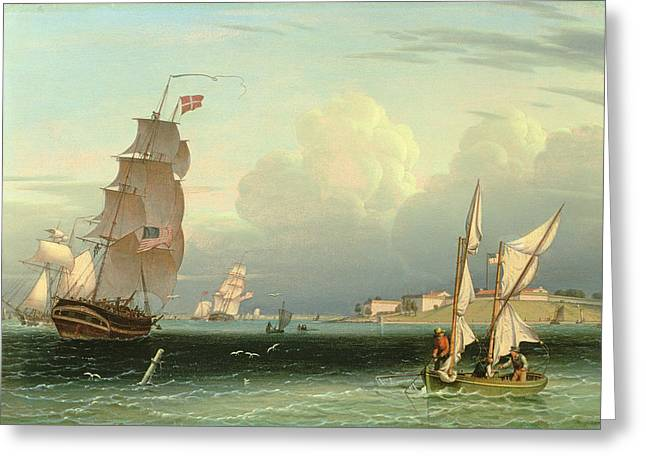 Stars And Stripes Paintings Greeting Cards - Ship Going Out, Fort Independence Greeting Card by Robert Salmon