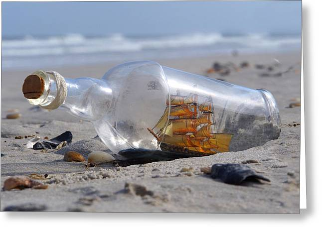 Ship Digital Art Greeting Cards - Ship in a Bottle Greeting Card by Mike McGlothlen