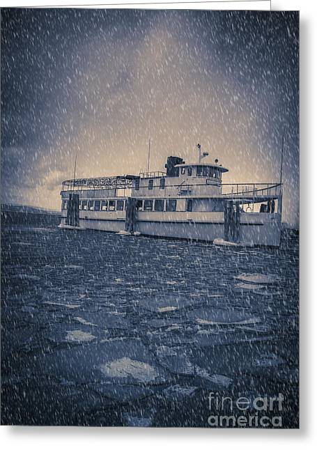 Slip Greeting Cards - Ship in a snowstorm Greeting Card by Edward Fielding