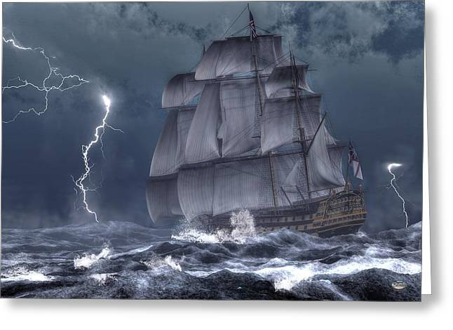 Lost At Sea Greeting Cards - Ship in a Storm Greeting Card by Daniel Eskridge