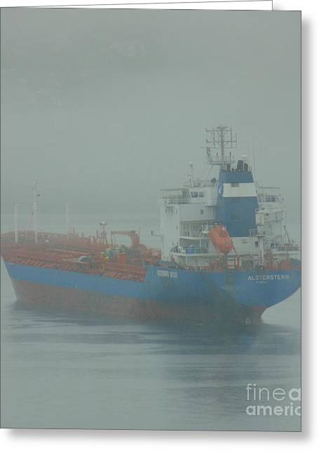 Boats In Harbor Greeting Cards - Ship in Fog Greeting Card by John Malone
