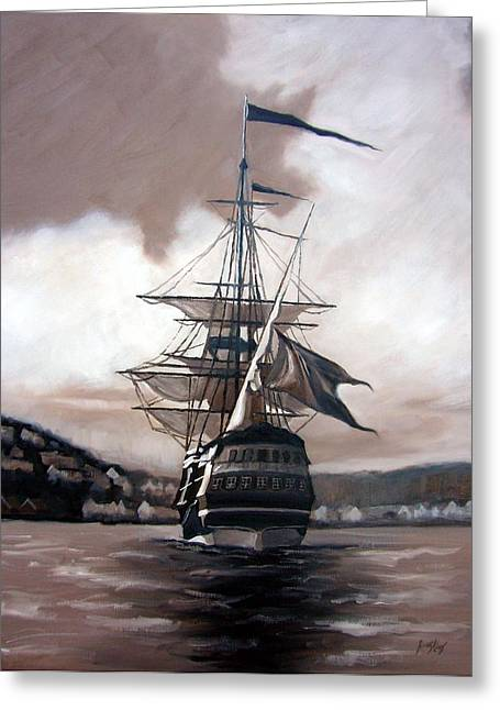 Ship Sailing Into Farsund Norway Greeting Cards - Ship in sepia Greeting Card by Janet King