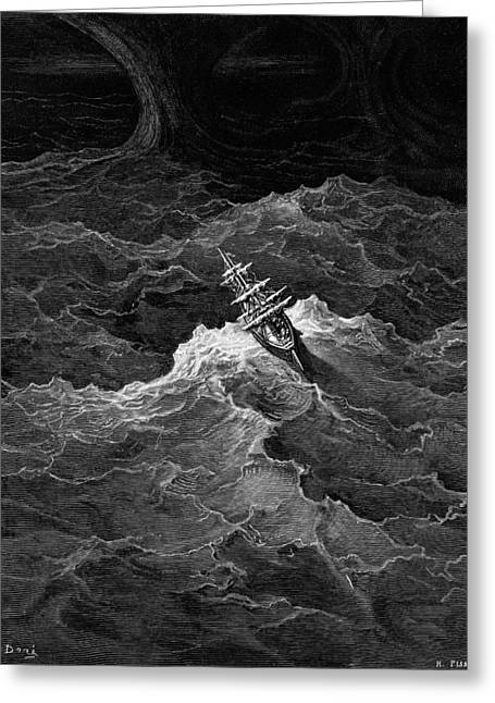 Literary Drawings Greeting Cards - Ship in stormy sea Greeting Card by Gustave Dore