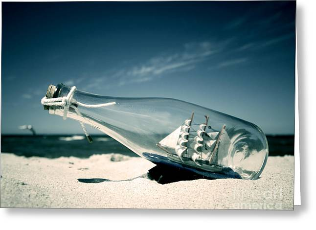 Ashore Greeting Cards - Ship in the bottle Greeting Card by Michal Bednarek