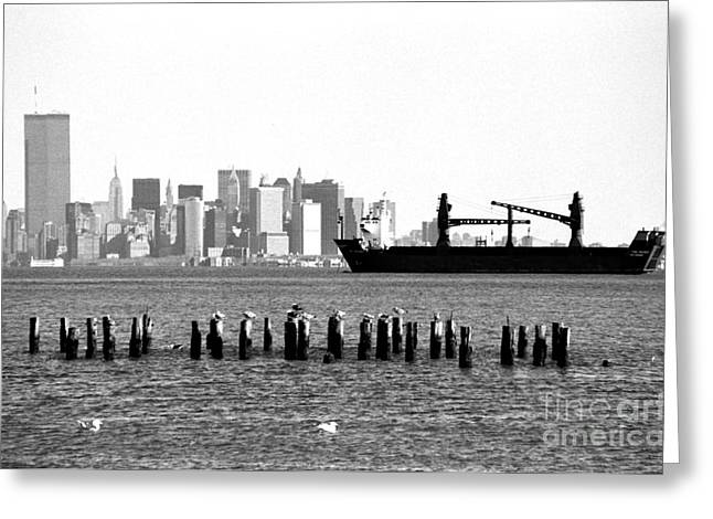 1990s Greeting Cards - Ship in the Harbor 1990s Greeting Card by John Rizzuto