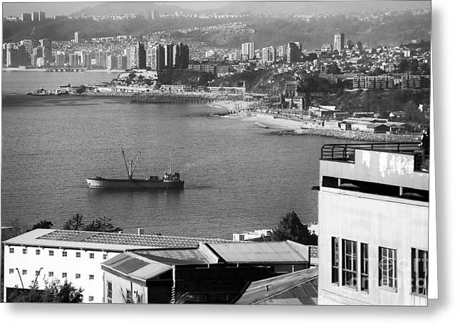 Pacific Ocean Prints Greeting Cards - Ship in the Harbor at Valparaiso Greeting Card by John Rizzuto