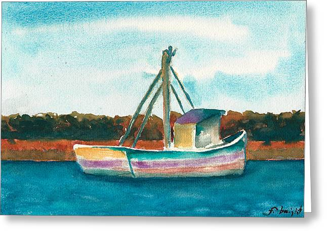 Low Country Watercolor Greeting Cards - Ship in the Marsh Greeting Card by Frank Bright