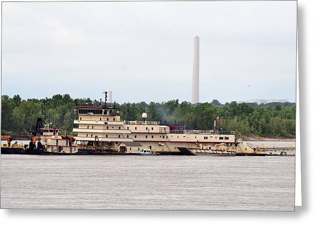 Boat Greeting Cards - Ship In The Mississippi River Greeting Card by Kim Stafford