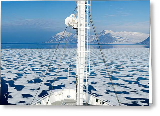 Masts Greeting Cards - Ship In The Ocean With A Mountain Range Greeting Card by Panoramic Images