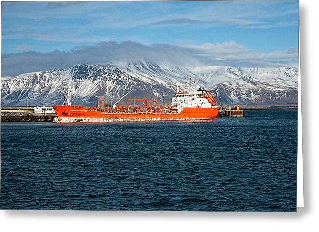 Icelandic Fish Greeting Cards - Ship In The Old Harbor I Greeting Card by Kristia Adams