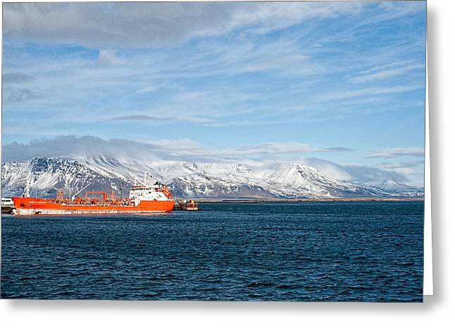 Icelandic Fish Greeting Cards - Ship In The Old Harbor II Greeting Card by Kristia Adams