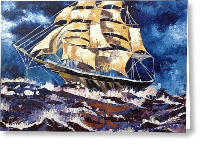 Pirate Ship Tapestries - Textiles Greeting Cards - Ship In The Rough Sea Greeting Card by Akil