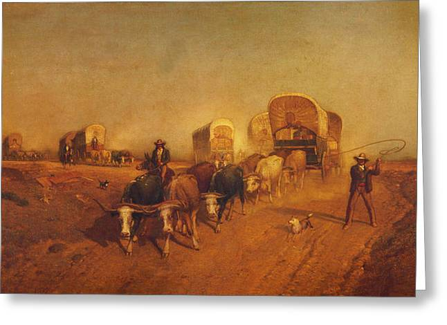 Samuel Digital Art Greeting Cards - Ship Of The Plains Covered Wagons Greeting Card by Samuel Colman
