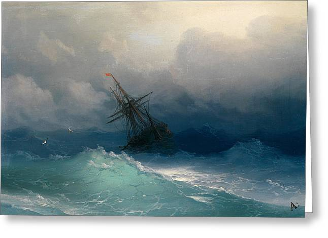 Ivan Greeting Cards - Ship on Stormy Seas Greeting Card by Ivan Konstantinovich Aivazovsky