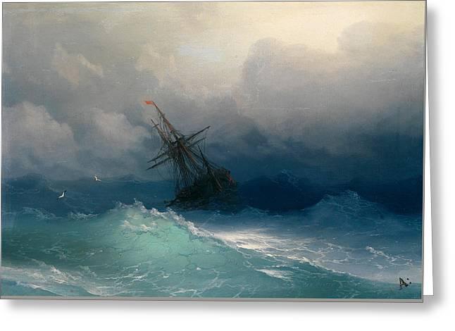 Ship On Stormy Seas Greeting Card by Ivan Konstantinovich Aivazovsky