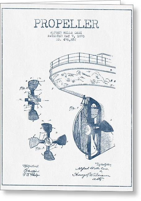 Propeller Greeting Cards - Ship propeller patent from 1893  -  Blue Ink Greeting Card by Aged Pixel