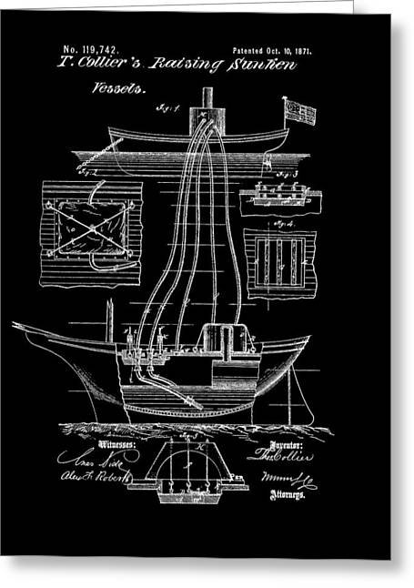 Sailing Ship Mixed Media Greeting Cards - Ship Recovery Patent Greeting Card by Dan Sproul