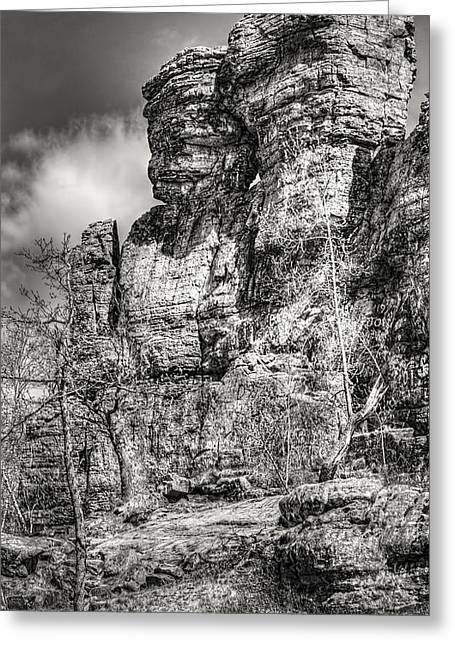Mound Greeting Cards - Ship Rock in Black and White 1 Greeting Card by Thomas Young