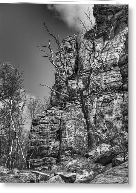 Mound Greeting Cards - Ship Rock in Black and White 2 Greeting Card by Thomas Young