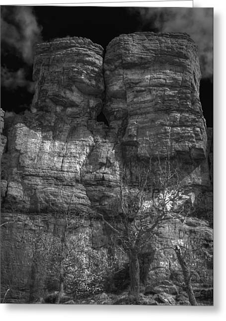 Mound Greeting Cards - Ship Rock in Black and White 3 Greeting Card by Thomas Young