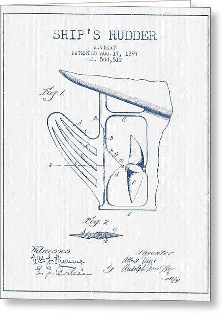 Rudders Greeting Cards - Ship Rudder Patent Drawing from 1887  -  Blue Ink Greeting Card by Aged Pixel