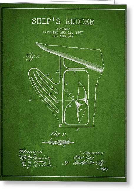 Rudders Greeting Cards - Ship Rudder Patent Drawing from 1887 - Green Greeting Card by Aged Pixel