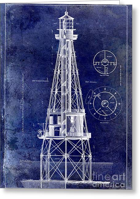 Ships Drawings Greeting Cards - Ship Shoal Light House Blueprint Greeting Card by Jon Neidert