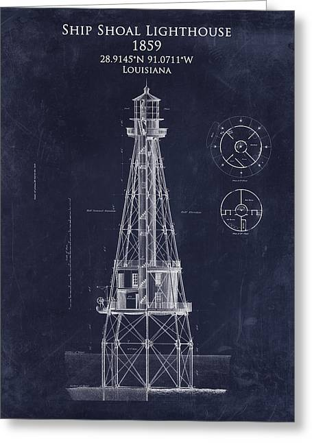 Louisiana Greeting Cards - Ship Shoal lighthouse blueprint art print Greeting Card by Sara Harris