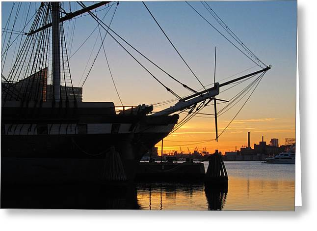 Constellations Greeting Cards - Ship Silhouette in Baltimores Inner Harbor Greeting Card by Nancy  de Flon